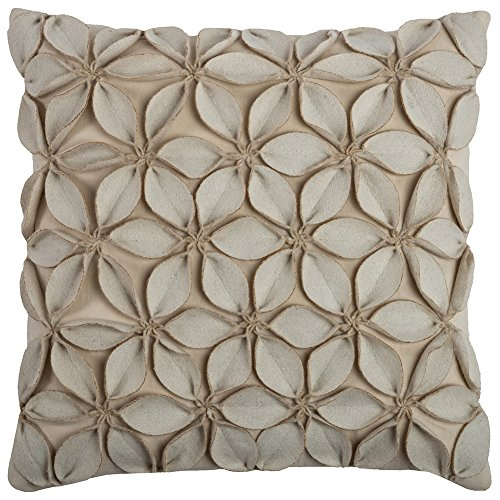 Rizzy Home 18 in. X 18 in. Cream Decorative Pillow with Applique of Felt Leaves