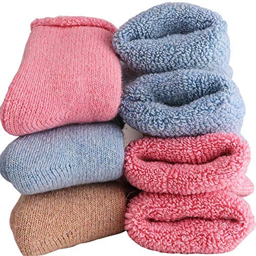 Baby Wool Socks - Super Thick Wool Toddler Socks - Soft Casual Winter Warm Solid Color Baby Girl Boy Boot Crew Socks For Baby 1-3T (Pack of 3) (3Pairs Baby wool socks)
