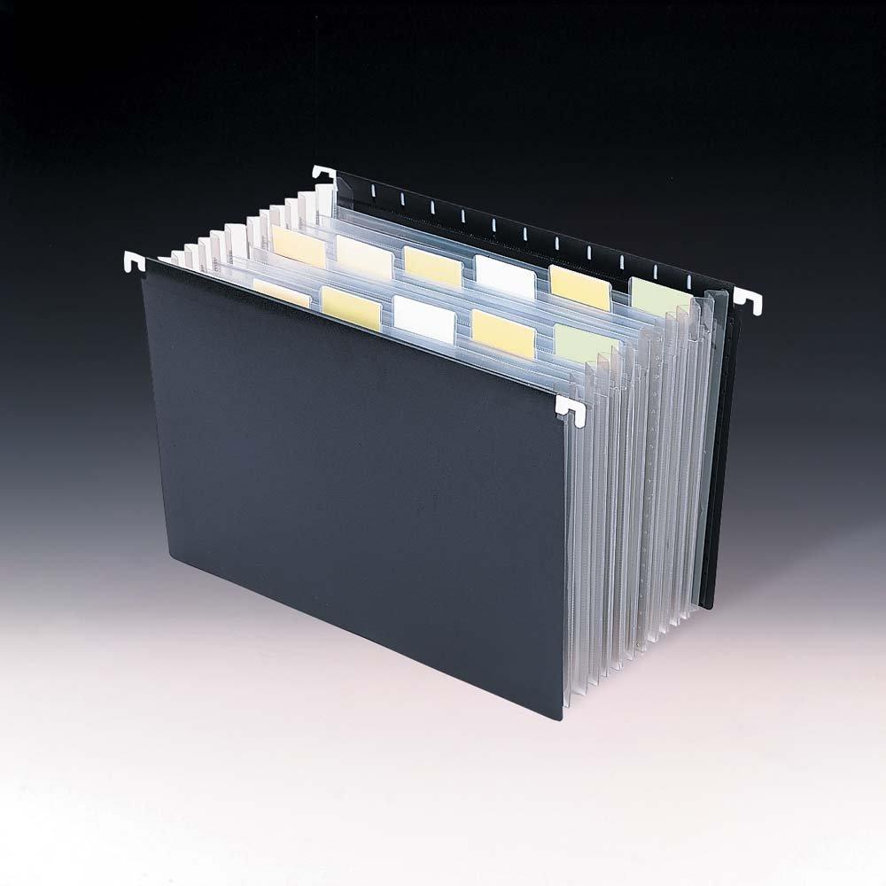 Smead Poly Hanging Expanding File Folder, 12 Dividers, Letter Size, Black (65125)