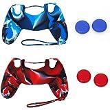 LIOOBO 2 peças de capa de silicone para joystick capa de polegar para PS4 (azul + vermelho)