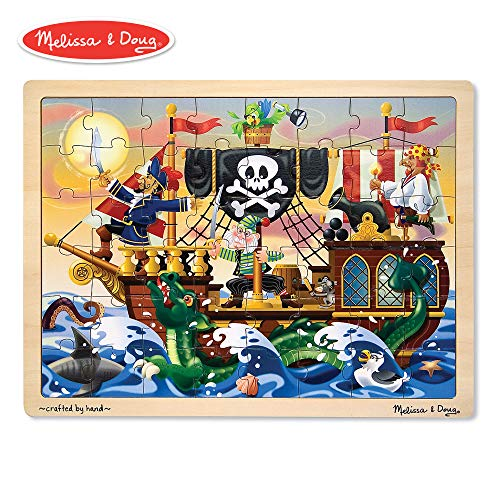 Wooden Pirate - Melissa & Doug Deluxe Wooden 48-Piece Jigsaw Puzzle - Pirates
