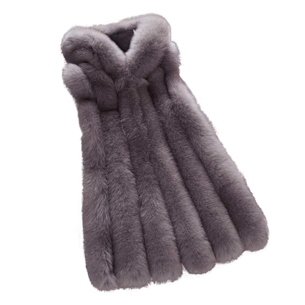 JiaMeng Damen Faux Pelz Weste einfarbig Ärmellose Lange Jacke Vest Kunstpelz mit Kapuzen Winter Herbst Pelzmantel Fellweste Mäntel