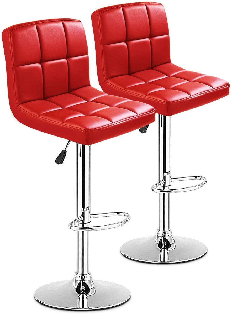 Casart Swivel Bar Stool Adjustable PU Leather Barstools Bistro Pub Chair Counter Barstool red