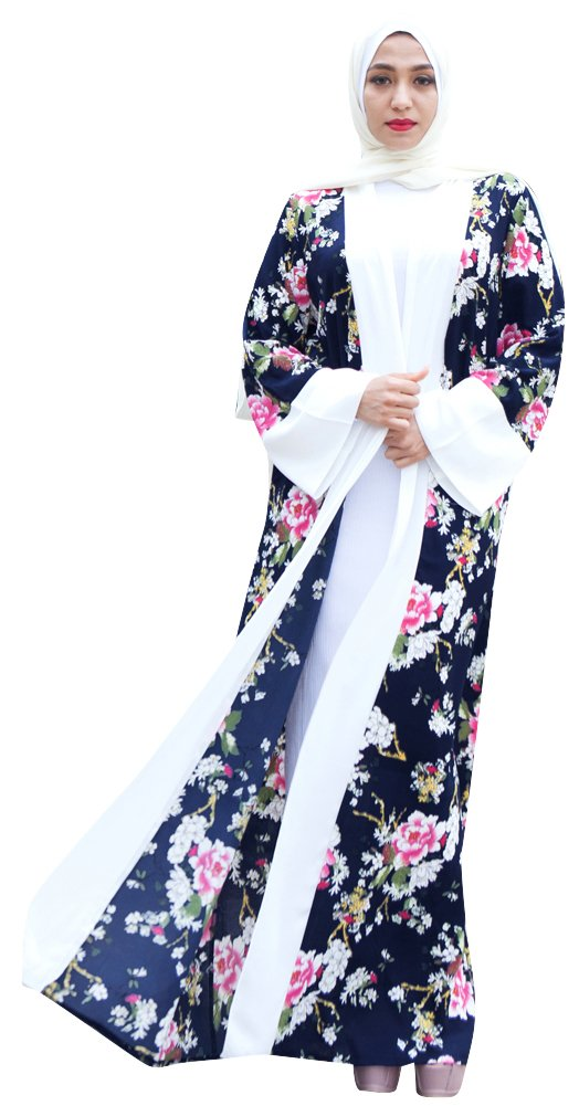 YI HENG MEI Women's Modest Muslim Open Front Boho Floral Print Long Maxi Abaya Coat with Belt,Navy,Tag S = US Size 4-8