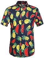 SSLR Men's Short Sleeve Button Down Casual Fruits Tropical Hawaiian Shirt