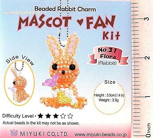 - Miyuki Mascot Fan Glass Seed Bead Bunny Rabbit Flora Ornament Charm KIT