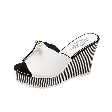 eea6a045d34f5 LUCKYCAT Sandales d été Femme, Prime Day Amazon Chaussures de Été Sandales  à Talons Chaussures Plates Talon Haut Perle Rayures Pente Pantoufles 2018   ...