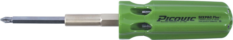 Picquic 48105 full-size SIXPAC Plus multi-bit screwdriver with seven bits, Gecko Green Opaque