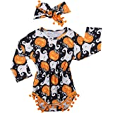 2Pcs/Set Cute Infant Newborn Baby Girl Long Sleeve Pumpkin Bodysuit Pompom Romper with Headband Outfit Clothes