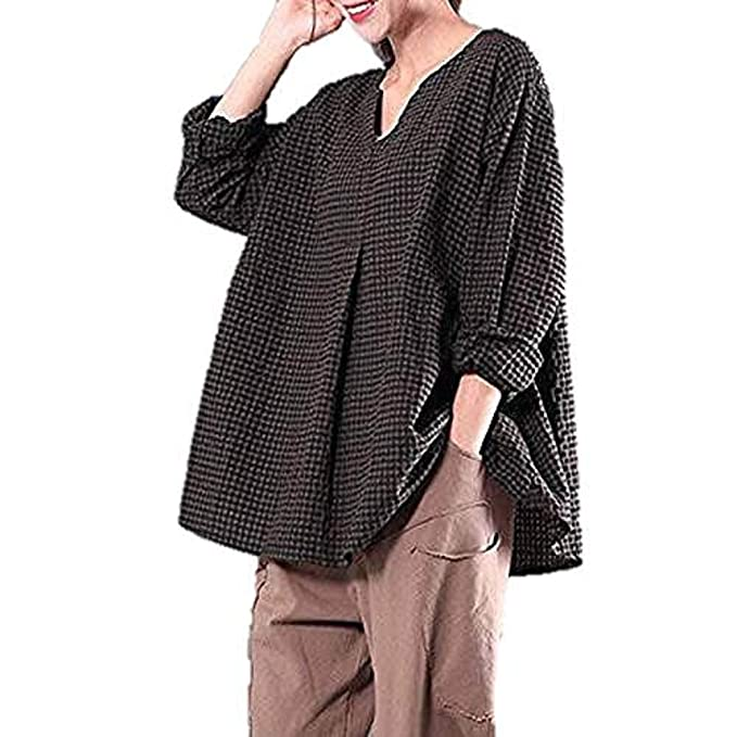 4b6ce0f4ea3c89 HWTOP Damen Oberteil Hemd Chiffon Kaftan Bluse Arbeitshemd Freizeithemd  Kariertes Hemd V-Ausschnitt Baumwolle Lange Maxi Bluse Elegant Sexy Lang  T-Shirt ...