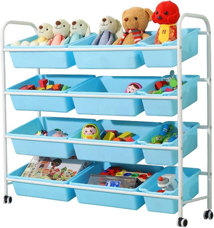 おもちゃラック 車輪および取り外し可能なプラスチック大箱(白いフレーム+青い箱)が付いているおもちゃの貯蔵のオルガナイザーのカート-104 * 30 * 95CM (Color : White Frame+Blue Box, Size : 104*30*95cm)