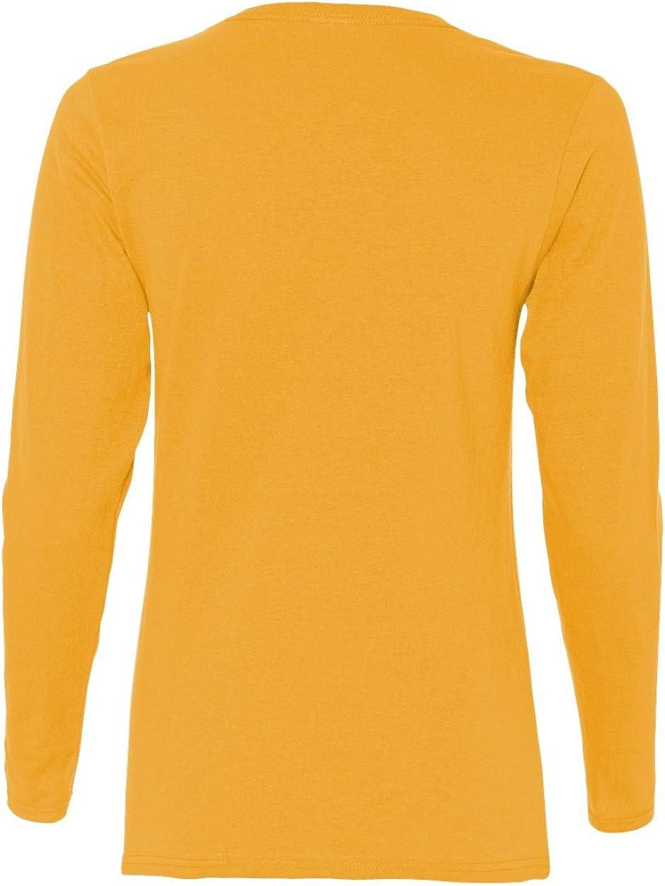Gildan Womens Heavy Cotton Missy Fit Long-Sleeve T-Shirt G540L XL-12PK -GOLD