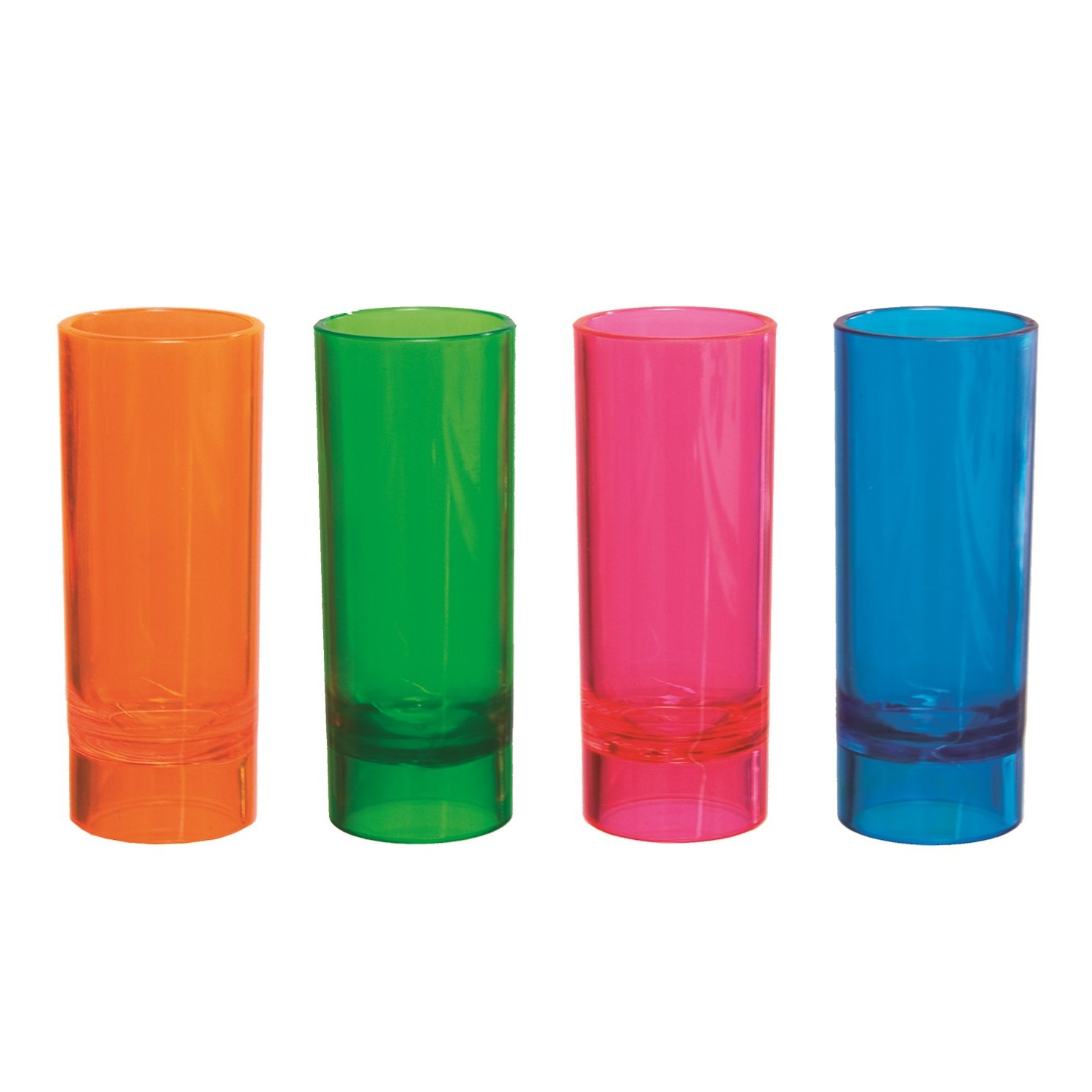 Party Essentials 10-Count Hard Plastic 2-Ounce Shot/Shooter Glasses, Assorted Neon