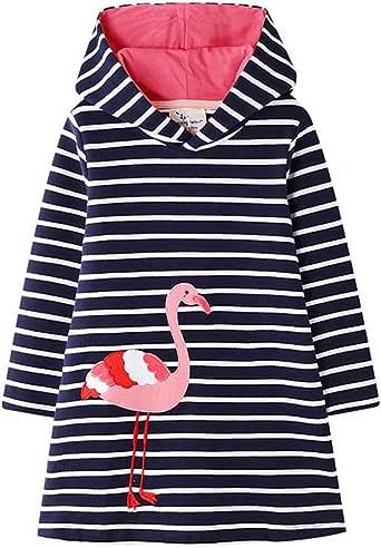 HILEELANG Toddler Little Girl Long Sleeve Cotton Cartoon Applique Strip Shirt Party Dress