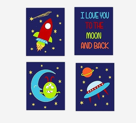 Amazoncom Baby Boy Nursery Wall Art Space Theme I Love You To The