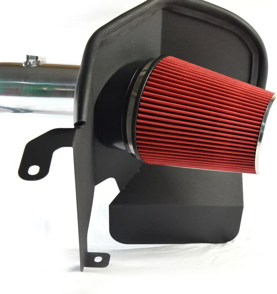 5.9L L6 Turbo Diesel Engine Only Red KABOCHO Fit for 2003-2007 Dodge Ram 2500 3500 4 Inch Aluminum High Flow Air Intake Kit Polish Heat Shield Pipe with Red Filter