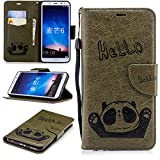 Misteem Cartoon Case Sony Xperia L2, Cute Retro Panda Pattern Leather Cases Flip Shockproof Card Holder Bookstyle/Stand / Magnetic Wallet Cover Protector Sony Xperia L2 - Panda Green Army