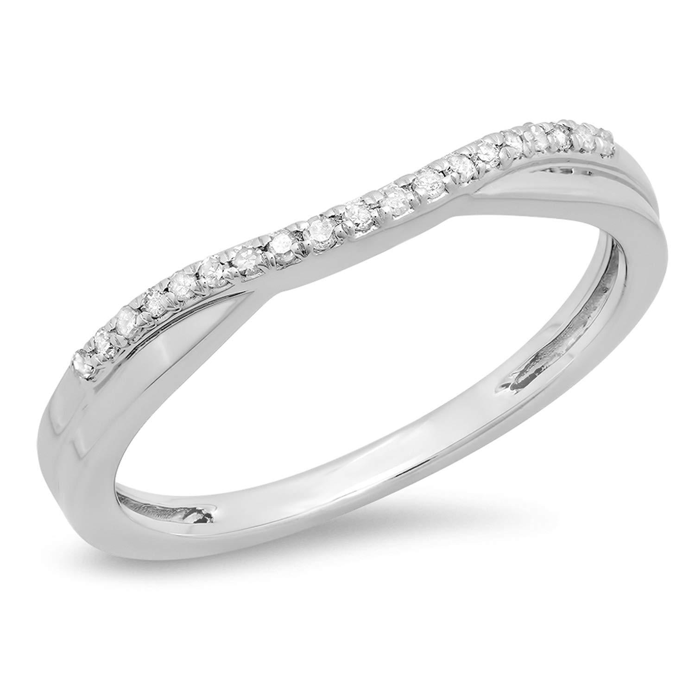 0.11 Carat (ctw) 14K Round Diamond Ladies Anniversary Wedding Guard Contour Band, White Gold, Size 6.5 by Dazzlingrock Collection