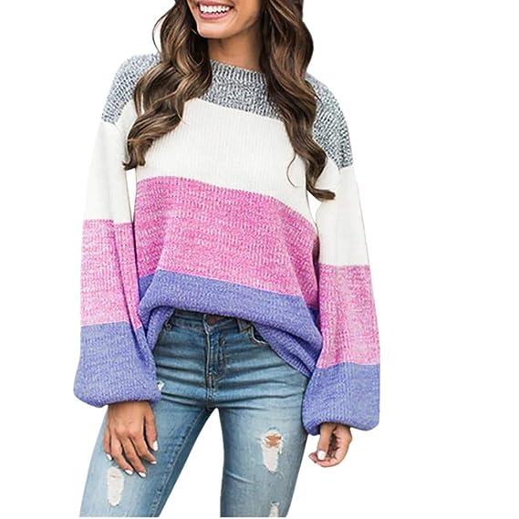 ZARLLE_Mujer Suéter Jerseys Elegante Moda Suelto Patchwork Hecho Punto Manga Larga Cárdigan T-Shirt Tops Suéter Suelto para Otoño Invierno: Amazon.es: Ropa ...