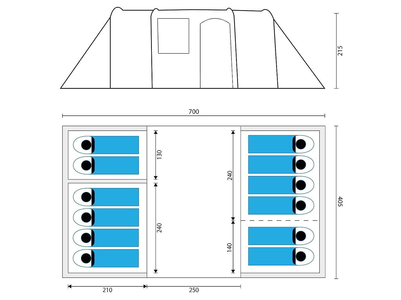 Skandika Hurricane 12 Personen Familien-Zelt gr/ün Tunnel-Zelt mit 4 Schlaf-Kabinen Gro/ßes ger/äumiges und robustes Steilwand-Zelt wasserdicht durch starke 5000 mm Wassers/äule Insekten-Netzen und /über 2 m Stehh/öhe