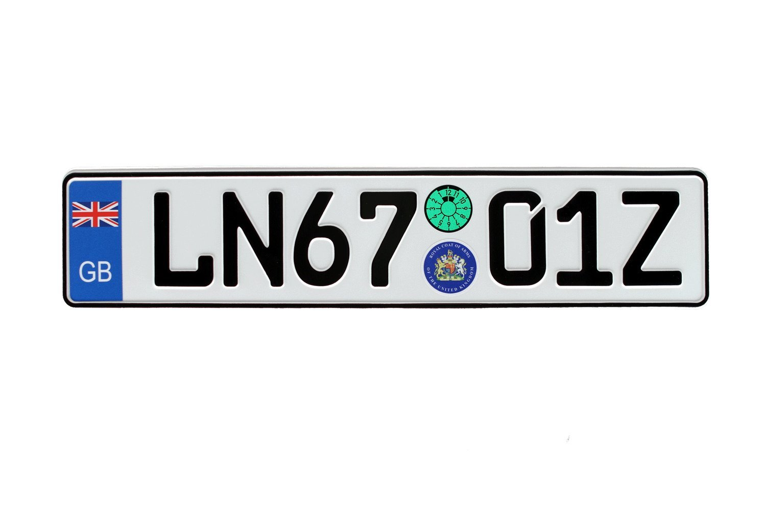 Great Britain Euro Plate with Registration Seals - Flag Style - Random Characters European Licence Plates