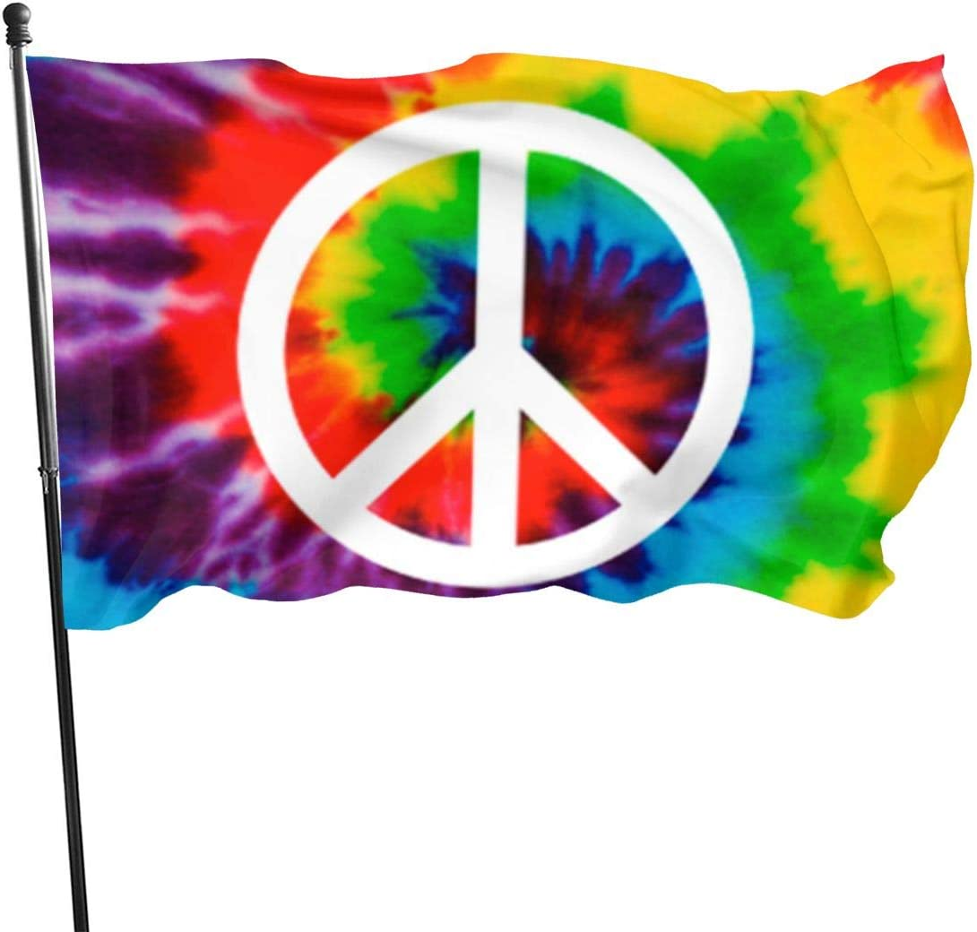 BAIFUMEN Salomao Peace Sign Tie-Dye Flag 3x5 Ft Outdoor Garden Decor Porch Lightweight Flag - Uv Fade Resistant