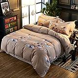 KFZ Bedding Duvet Cover Set Flat Sheet Pillowcases 4pcs/Set No Comforter SM Twin Full Queen King Memory Window London Ben Lucy Time Design for Children (Love Autumn, Grey, Queen, 78''x91'')