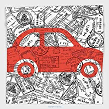 Vipsung Microfiber Ultra Soft Hand Towel-Cartoon Little Car With Travel Themed Passport Stamps Background Abstract Design Red Black And White For Hotel Spa Beach Pool Bath