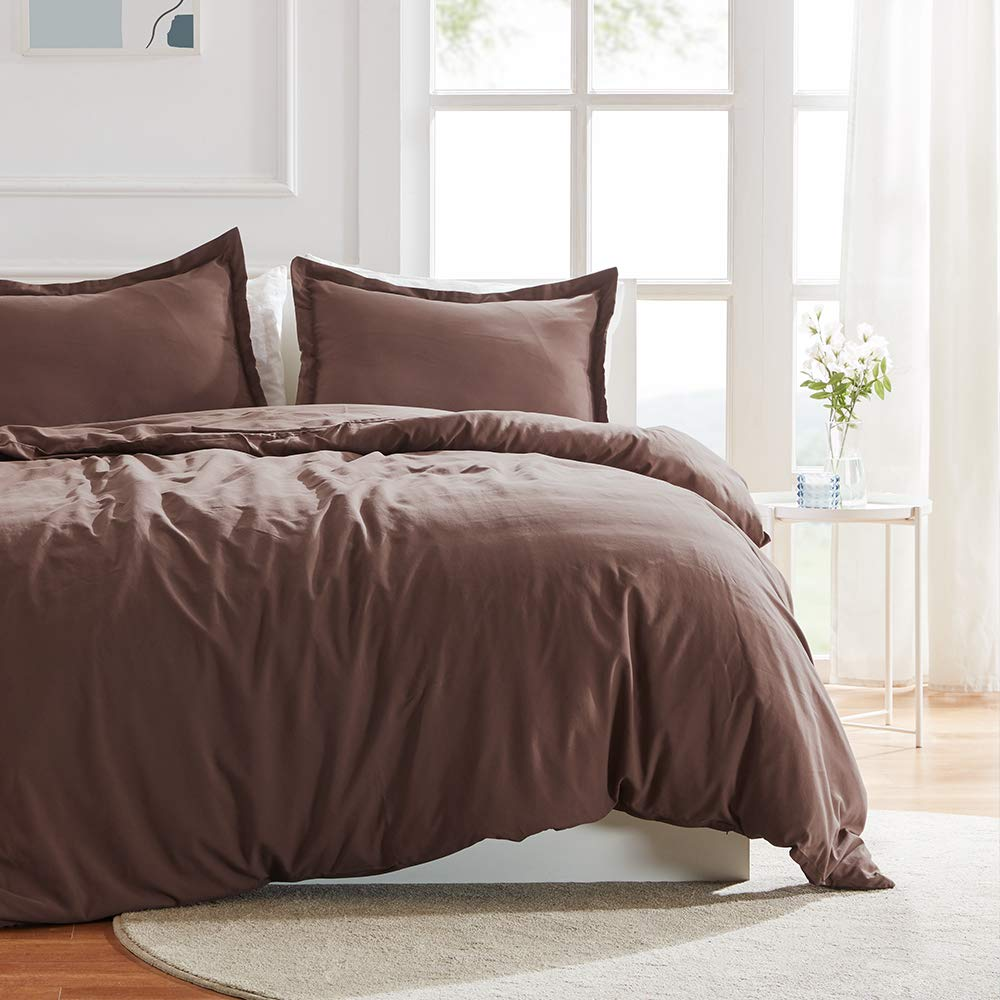 SLEEP ZONE Bedding Duvet Cover 90x90 inch Temperature Management 120gsm Soft Zipper Closure Corner Ties 3 PC, Nutmeg,Full/Queen