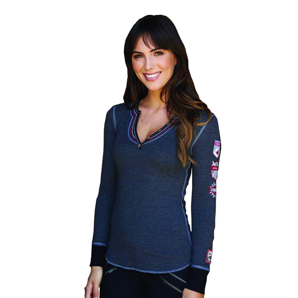 Alp-n-Rock Women's Gondola Canada Henley Shirt (Heather Black,M)