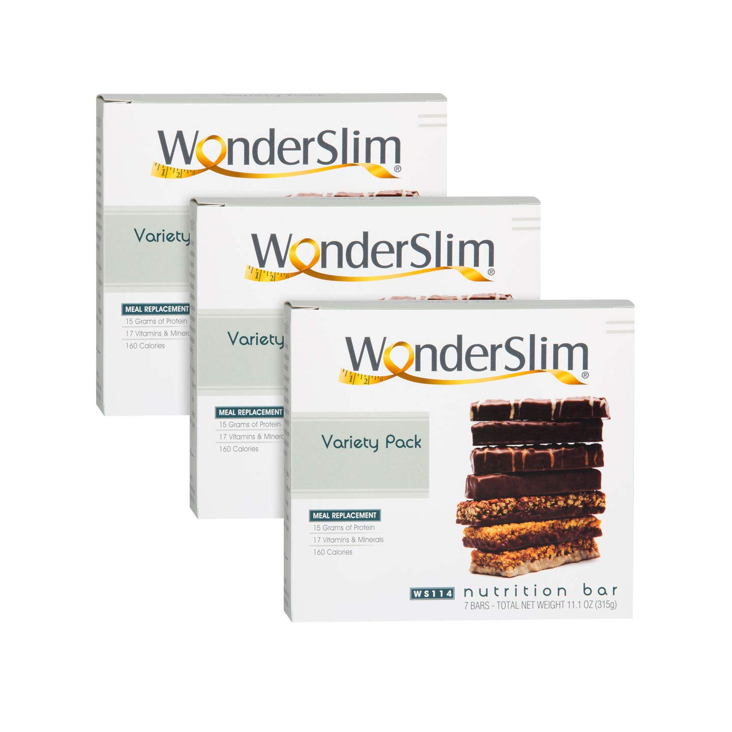 WonderSlim High Protein Meal Replacement Bar - High Fiber, Kosher, Variety Pack - 3 Box Value-Pack (Save 5%) by WonderSlim (Image #1)