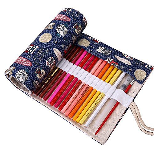 Covelin Pen Holder Forest Dreaming Canvas Roll Up Pencil Pouch Bag with 48 - Free Men Online Ax