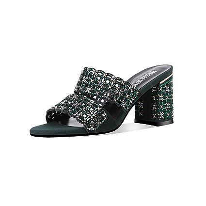 DALL Zapatos de Tacón Decoración De Diamantes De Imitación Zapatos De Mujer Zapatos De Tacón Alto