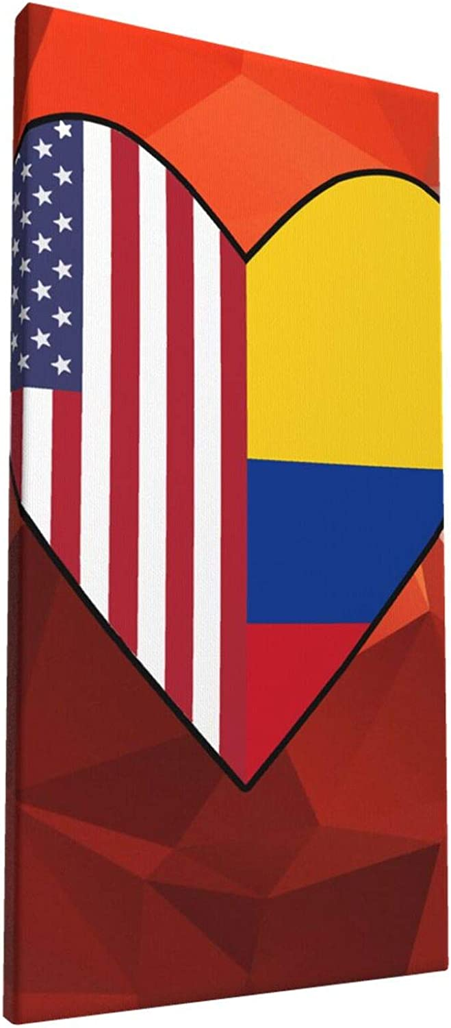 8x16 Inch Wall Art Half Colombia Flag Half USA Flag Love Heart Painting on Canvas for Bedroom Home Decorations Wall Decor