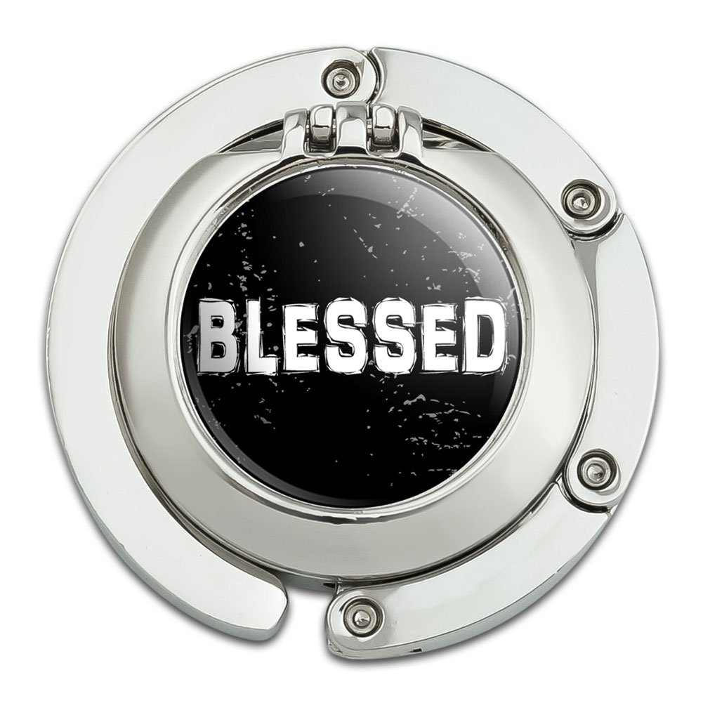 Blessed Christian Religious Inspirational Foldable Table Bag Purse Caddy Handbag Hanger Holder Hook with Folding Compact Mirror