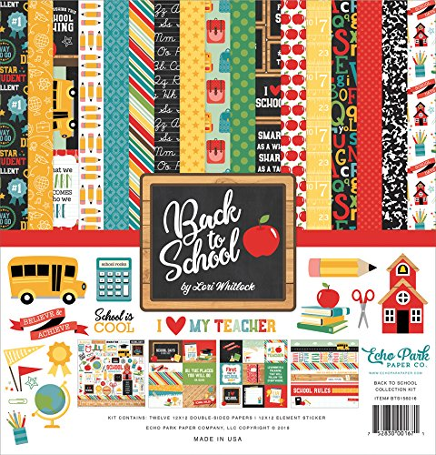 "Echo Park Paper Company 1 Back to School Collection Kit Paper, 12-x-12"", Blue/Black/Red/Green/Yellow from Echo Park Paper Company"