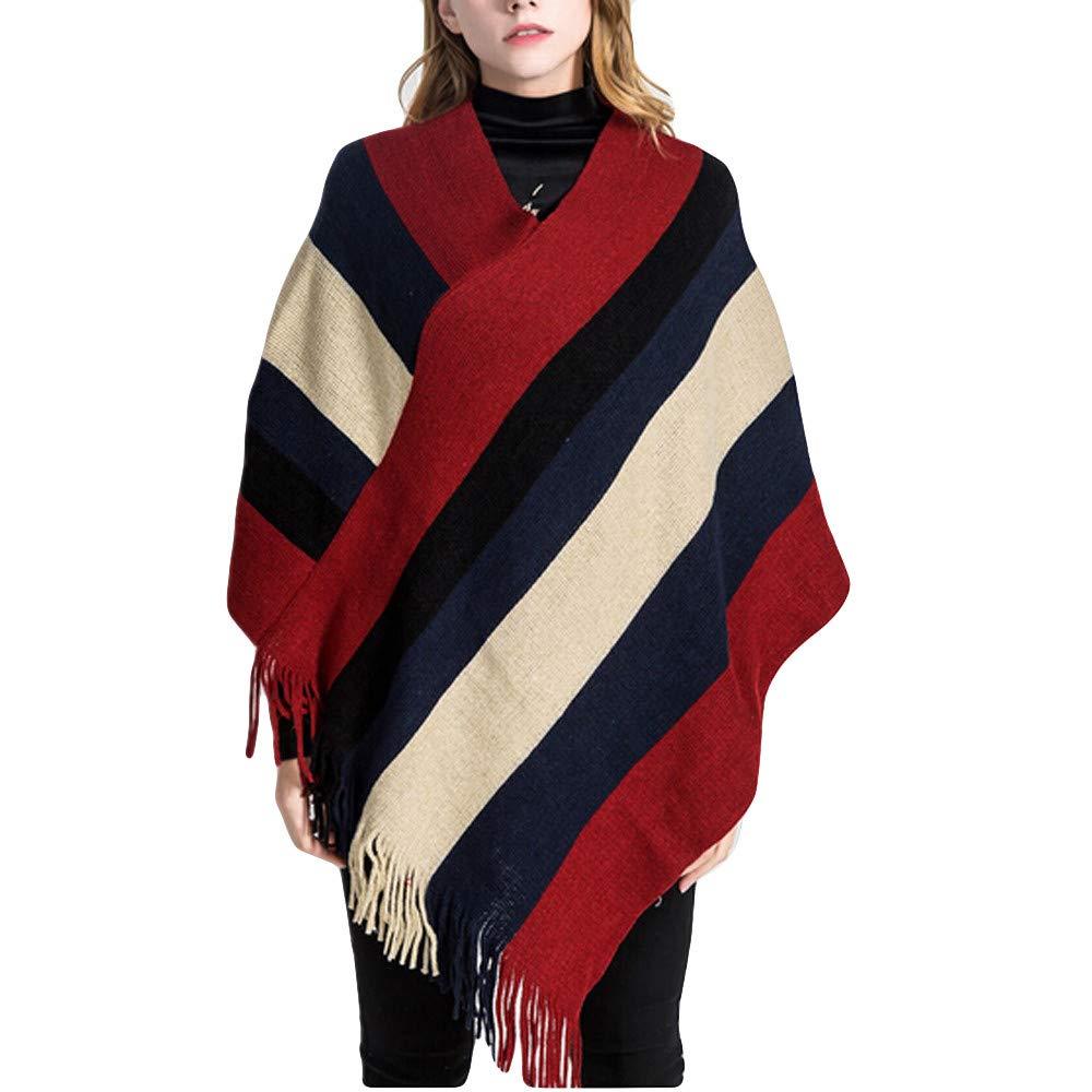 Sumen Fashion Women Blanket Stripe Splicing Pattern Coat Wrap Cozy Shawl
