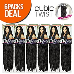 ISIS Synthetic Hair Crochet Braids A Fri-Naptural Cubic Twist (6-Pack, 1B)