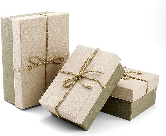 VEESUN Cajas de regalo grandes para regalos, 3 juegos de cajas de presentación de cartón con tapas, cumpleaños de ...