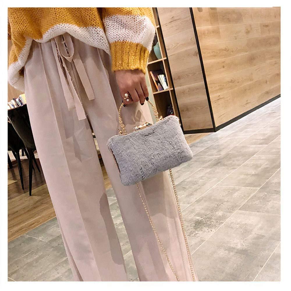 Color : Gray FeliciaJuan Dinner Bag Evening Bags for Women Soft Plush Clutch Purses Handbags Shoulder Bags Cross Body Bag Party Cocktail Bag Prom Bag Clutch Evening Handbag