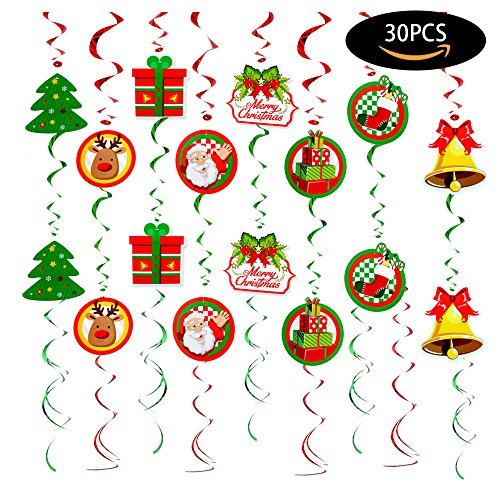 Wonderland Winter Holiday Gift (30 PCS Christmas Swirls Garland Foil Hanging Ceiling Decoration for Winter Wonderland Holiday Party Supplies with Christmas Deer & Santa Claus & Tree & Gift & bell)