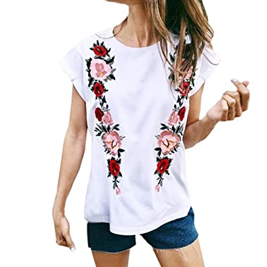 a57332e47 Amazon.com: SFE Women Comfy Simple Flower Embroidery Round Neck Short Sleeve  Casual Tops T-Shirt Blouse: Clothing