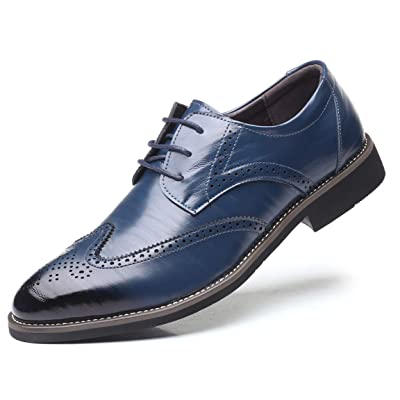 DADAWEN Men's Classic Brogue Formal Oxford Wingtip Lace-Up Dress Shoes   Oxfords