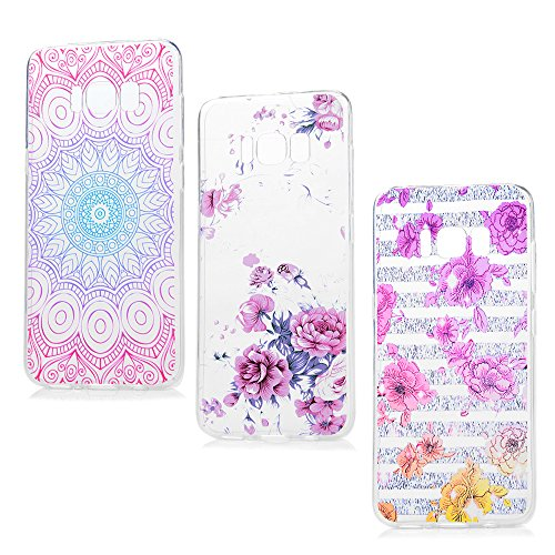 Price comparison product image Galaxy S8 Case, YOKIRIN [3-Pack] Colorful Printed Flower Floral & Totem Pattern TPU Soft Case Rubber Gel Silicone Slim Fit Protective Skin Cover for Samsung Galaxy S8