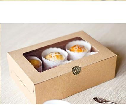 Mango King - Caja de regalo para cupcakes, 6 compartimentos, papel kraft, caja de cartón, caja de dulces, caja de dulces para bodas, dulces y dulces: Amazon.es: Oficina y papelería