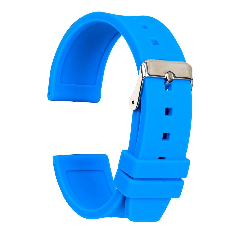 ullchroシリコン時計ストラップ交換ゴム時計バンド防水滑らかな柔軟な腕時計ブレスレット 24mm ブルー 24mm|ブルー ブルー 24mm B077D7KNFH