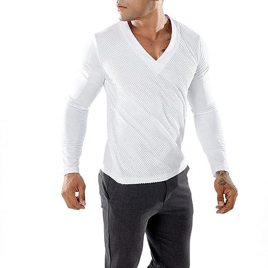Resplend Camiseta de Manga Larga con Cuello Redondo y Patchwork Casual para Hombre: Amazon.es: Ropa y accesorios