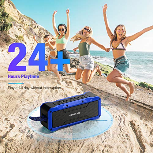 POWERADD Musicfly II Bluetooth Speakers, 36W Portable Wireless Bluetooth Speaker IPX7 Waterproof/Enhanced Bass/ 24H Playtime/Built-in Mic for iPhone, Samsung and More (Blue)