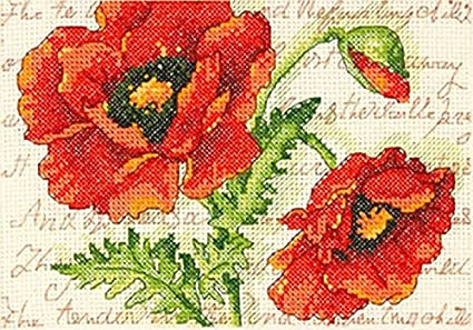 "Dimensions Poppy Pair Counted Cross Stitch Kit, Floral Cross Stitch, 5"" x 7"""