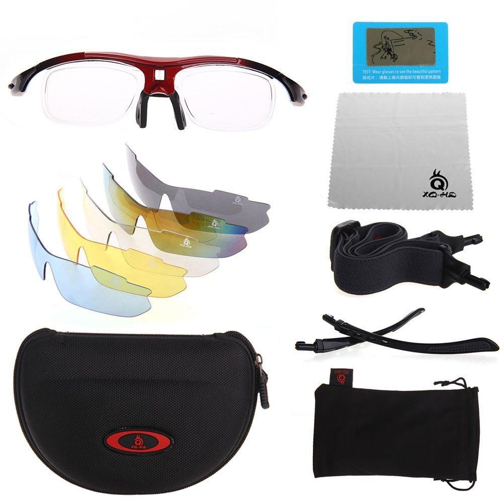 xq-xq adultes Unisexe Lunettes de soleil Lunettes de cyclisme pour Sport Extérieur de pêche de Golf Fashion Red_XQ-100 xOQOkw